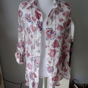 BD Collection semi-sheer button up size L floral